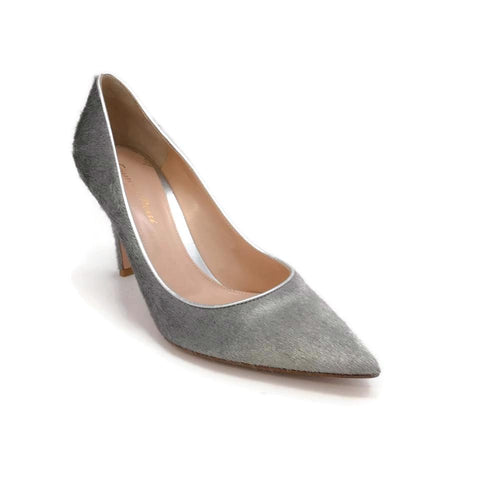 Gianvito Rossi Silver Pony Hair Pumps