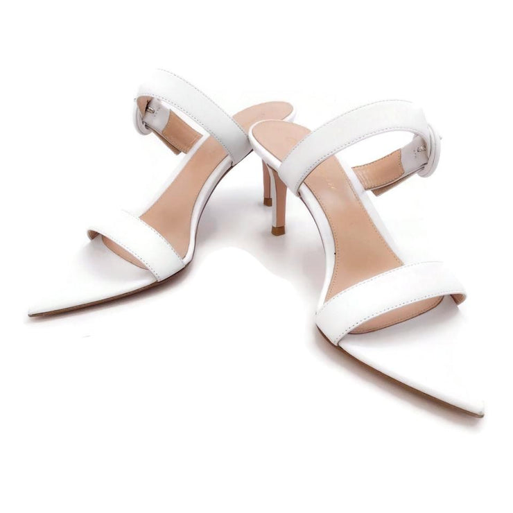 Gianvito Rossi White Pointy Toe Sandals