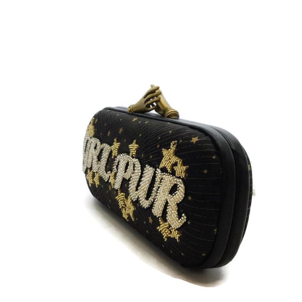 Sarah's Bags Girl Power Black / Gold Clutch