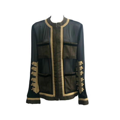 Givenchy Black and Gold Military Zip-up Blouse