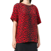 Givenchy Red / Black Leopard Print Blouse