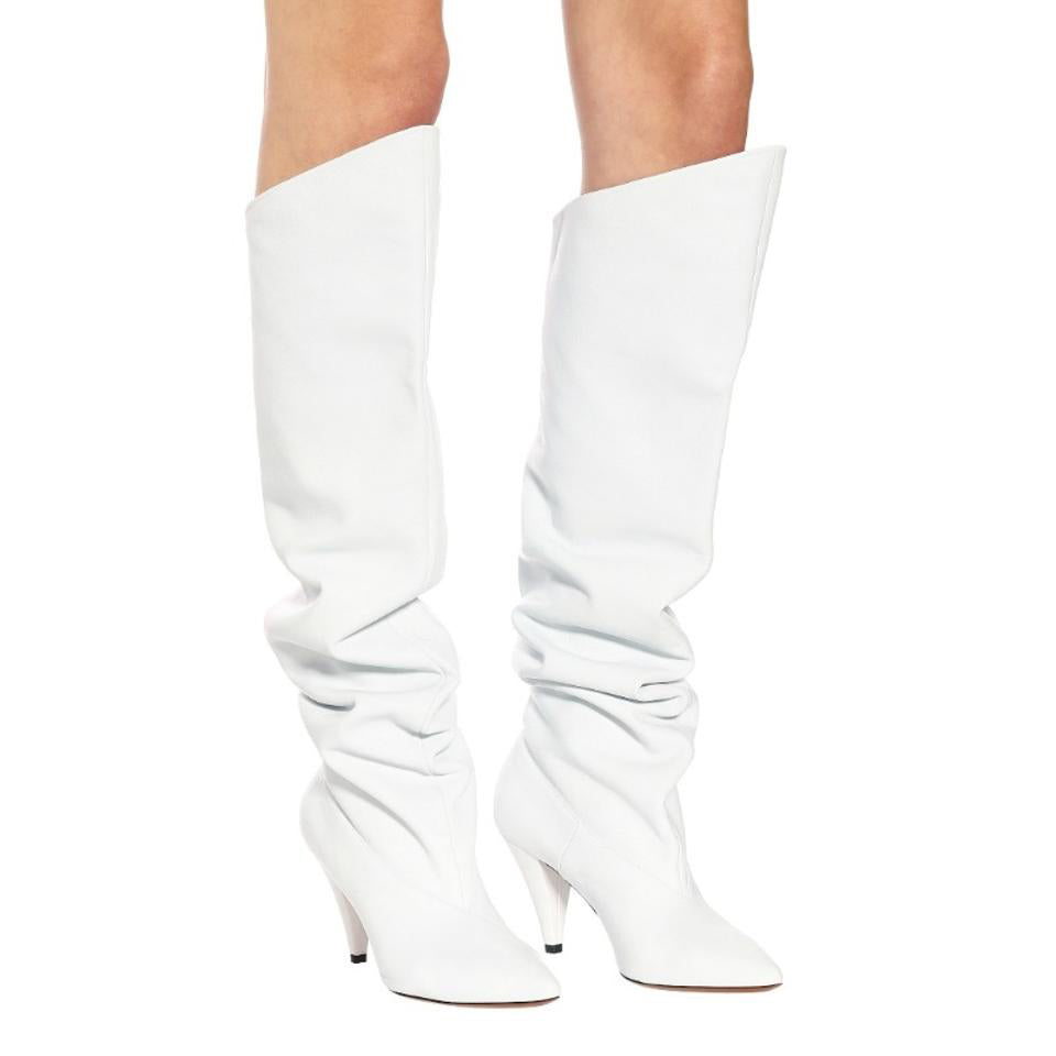 Givenchy White Leather Knee High Boots