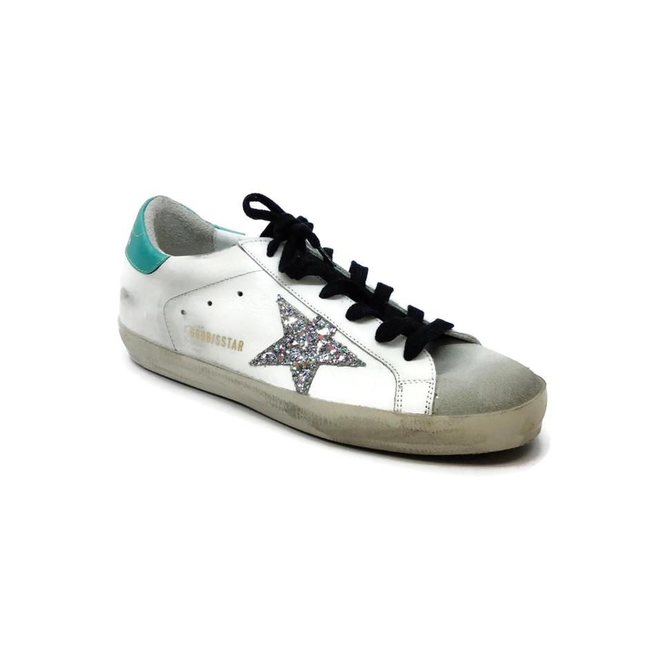 Golden Goose Deluxe Brand White / Green Super Star Sneakers