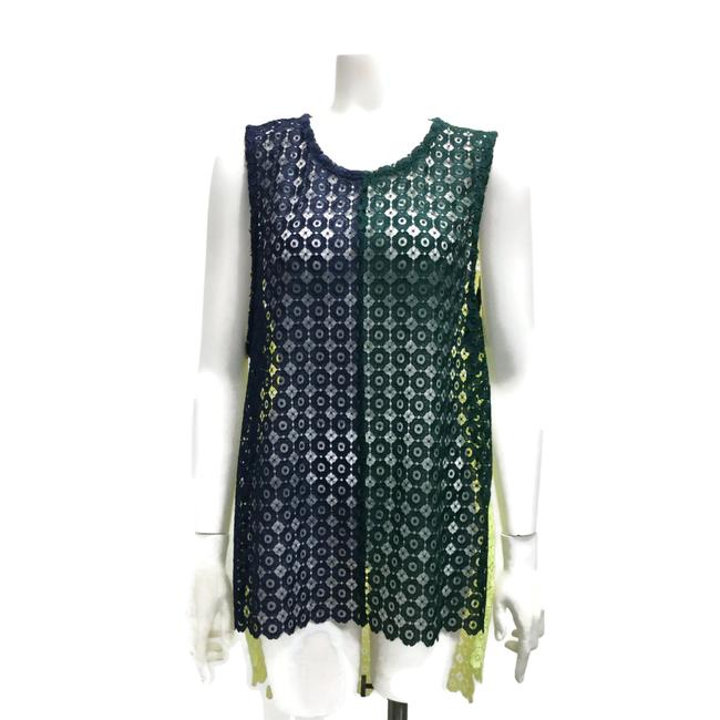 Facetasm Green/Navy/Yellow Lace Tank Top