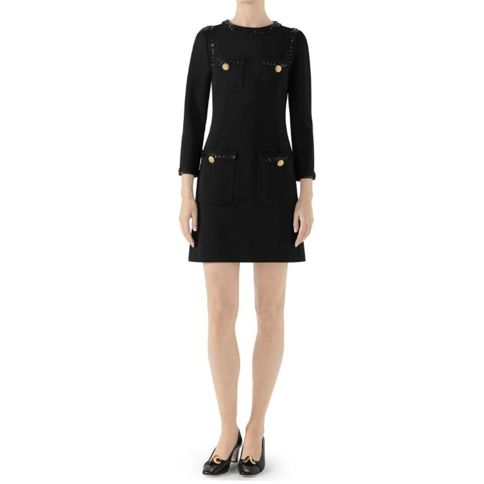 Gucci Black Compact Sequin Trim Dress