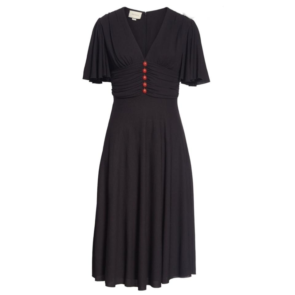 Gucci Black Jersey Ladybug Casual Maxi Dress