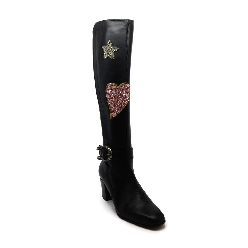 Gucci Black Leather Dionysus Embellished Boots