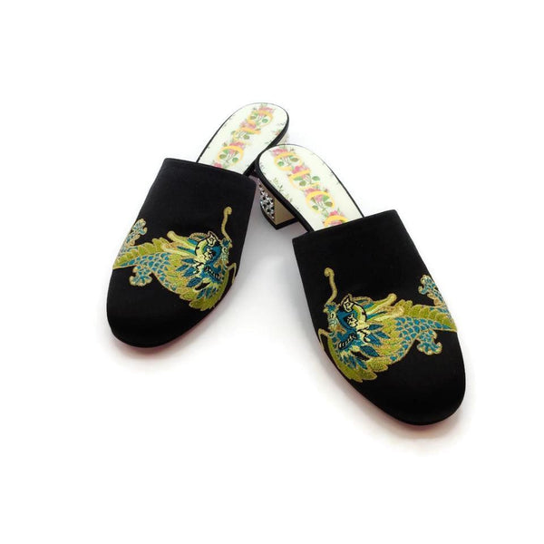 Gucci Black / Multicolored Dragon Mules