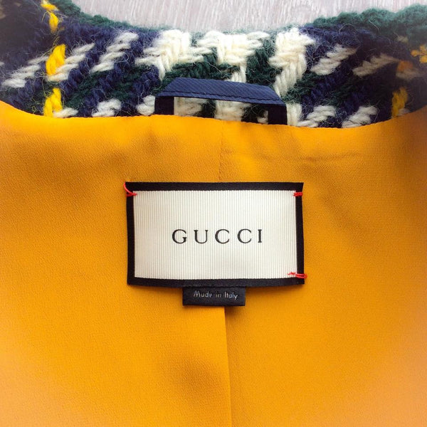 Cropped Plaid Wool Jacket by Gucci label