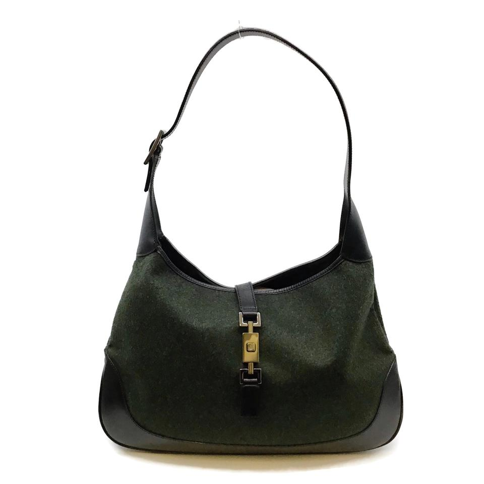 Gucci Jackie Black/Green Wool and Leather Bag