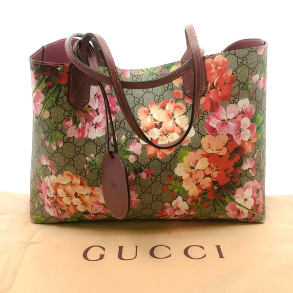 Gucci Gg Rose Blooms Gray / Floral Multicolored Leather Tote