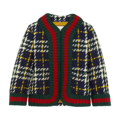 Cropped Plaid Wool Jacket by Gucci