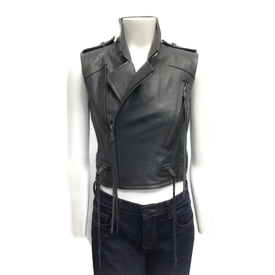 Haider Ackermann Black Leather Moto Vest