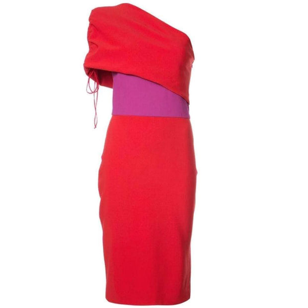 Haney Red / Magenta Briana One Shoulder Dress
