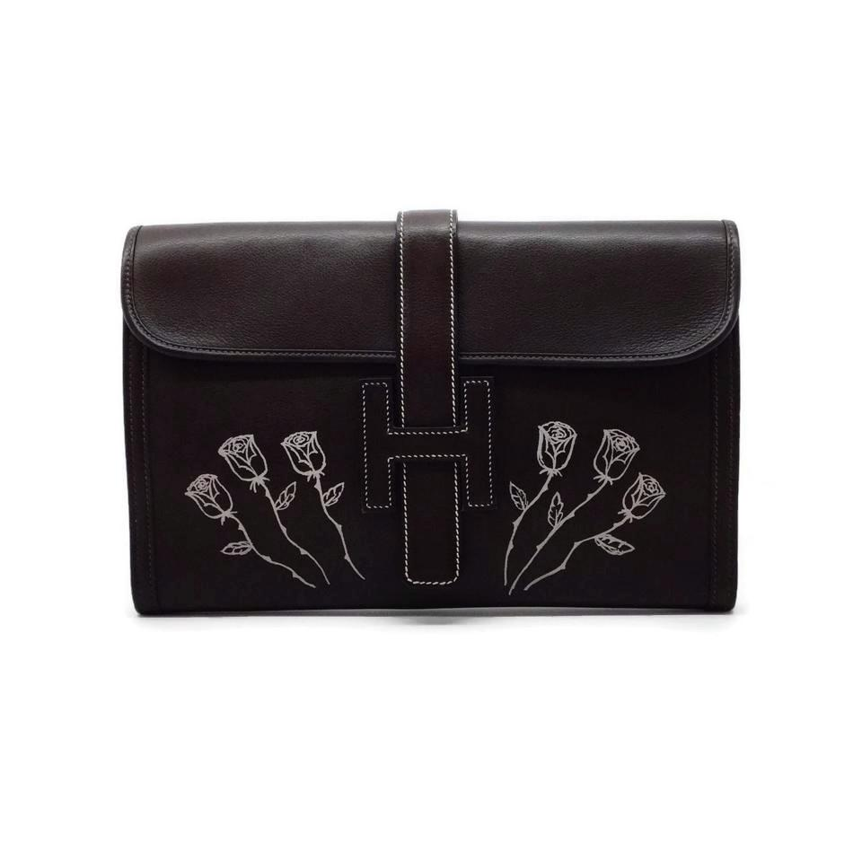 Hermès Jigé Floral Detail Dark Brown Leather Clutch