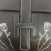 Hermès Jige Floral Detail Dark Brown Leather Clutch