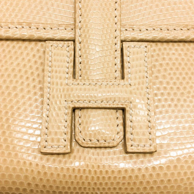 Hermès Mini Jige Cream Lizard Clutch