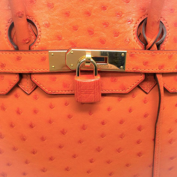 Ostrich Leather Birkin Bag Orange by Hermès front