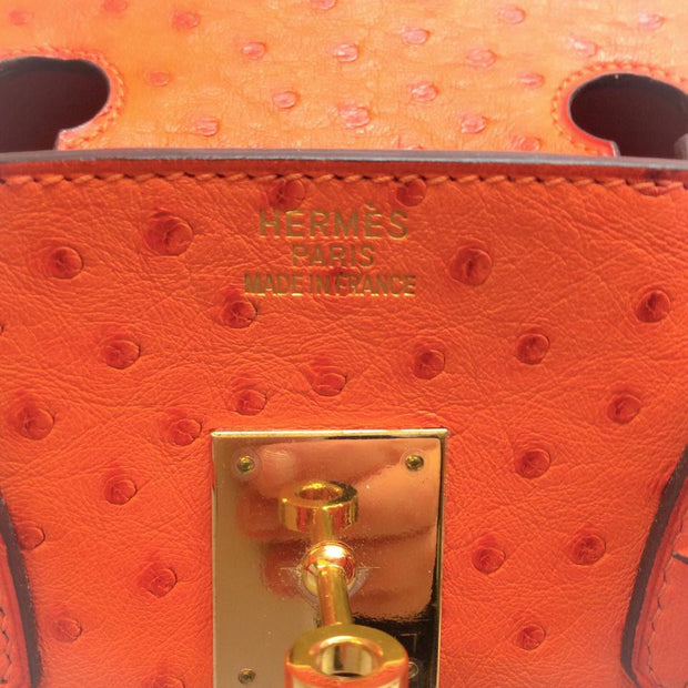 Ostrich Leather Birkin Bag Orange by Hermès logo