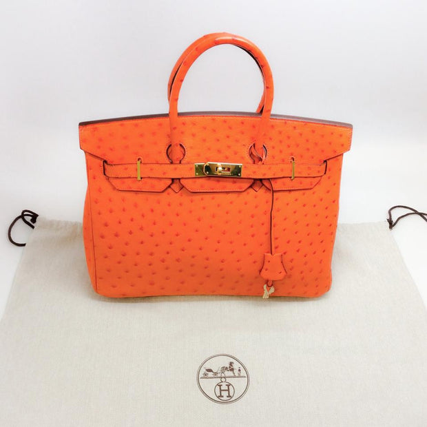 Ostrich Leather Birkin Bag Orange by Hermès dust bag
