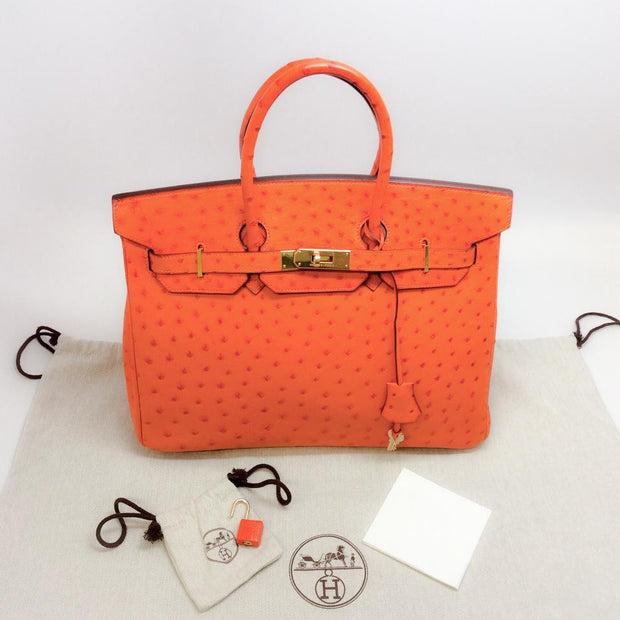 Ostrich Leather Birkin Bag Orange by Hermès accessories