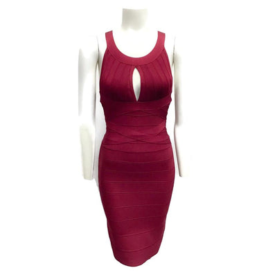 Hervé Leger Burgundy Iridessa Band Dress