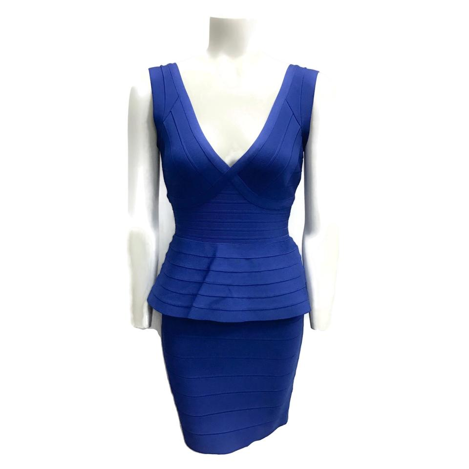 Hervé Leger Cobalt Blue Rebeca Dress