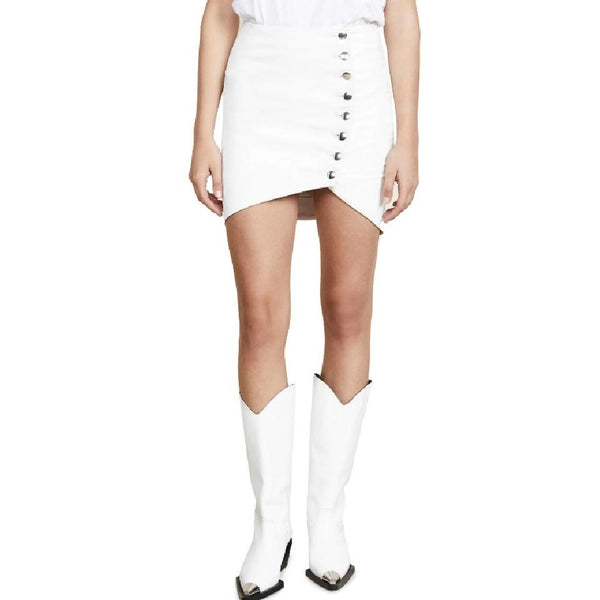 IRO White Leather Clefa Skirt