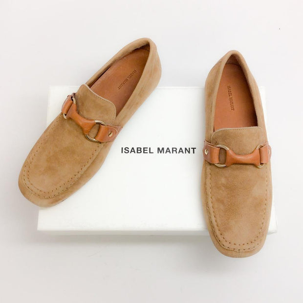 Farlow Suede Camel Loafers by Isabel Marant with box