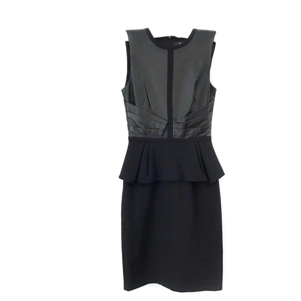 J. Mendel Black Leather Pleated Peplum Dress