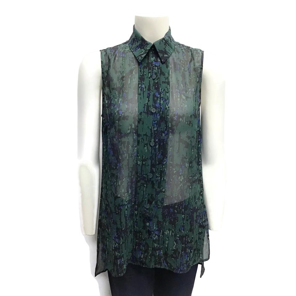 Jason Wu Green Multi Sheer Button-down Top
