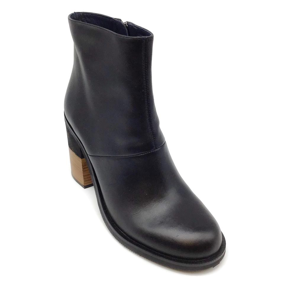 Jil Sander Black Leather Wood Heel Boots