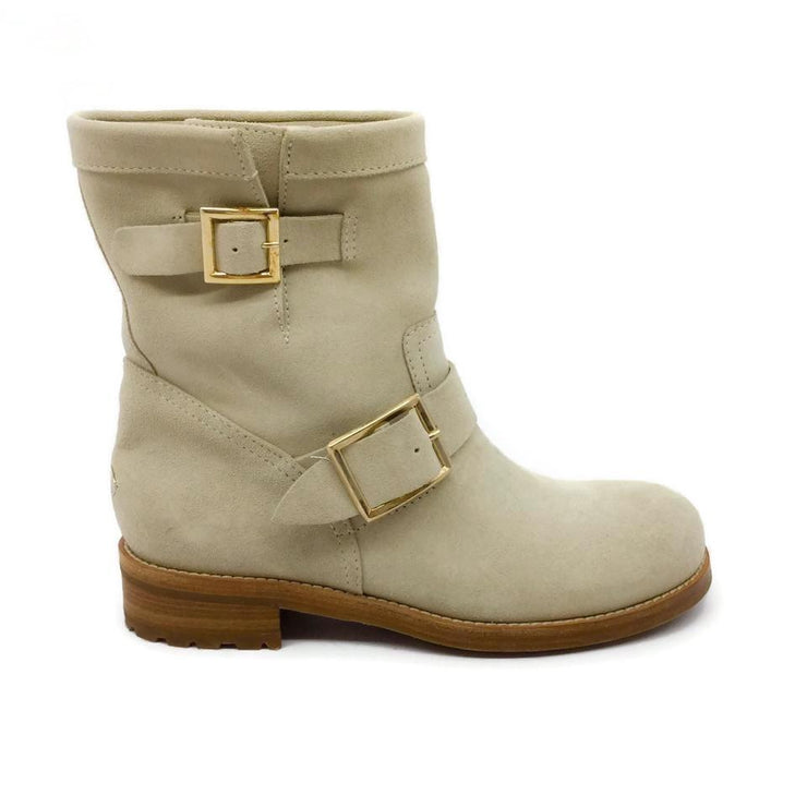 Jimmy Choo Light Beige Moto Boots