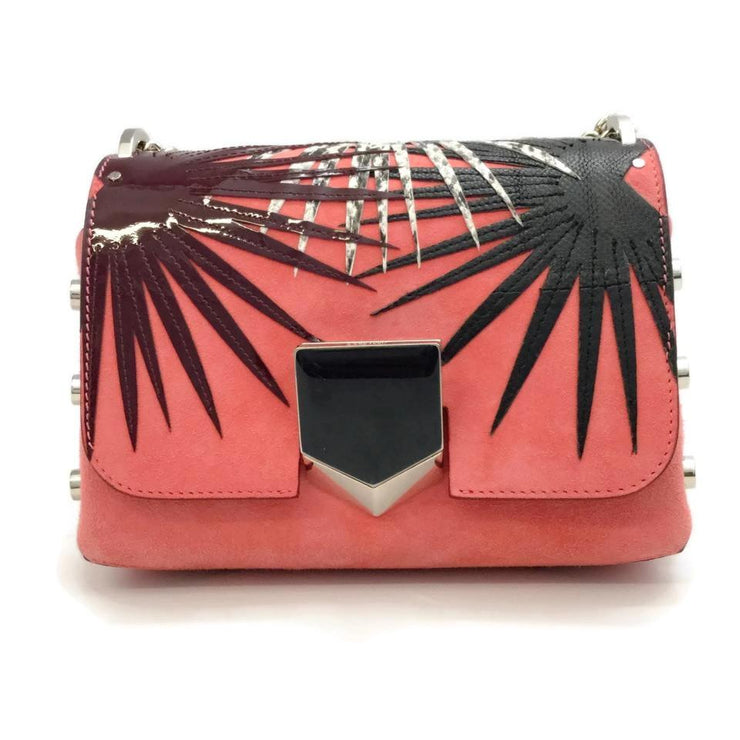 Jimmy Choo Lockett Coral Suede Leather Cross Body Bag