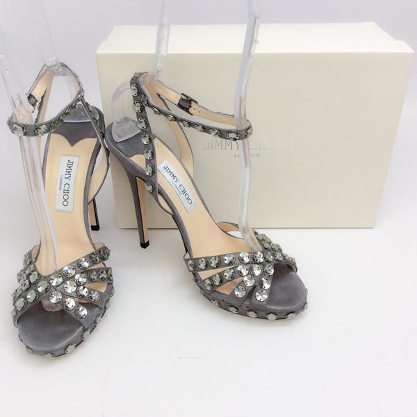 Jigsaw Silver Sandals by Jimmy Choo with box