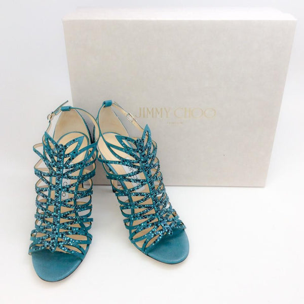 Kaye Teal Sandals by Jimmy Choo with box