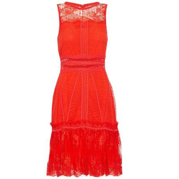 Jonathan Simkhai Red Lace Ruffle Dress