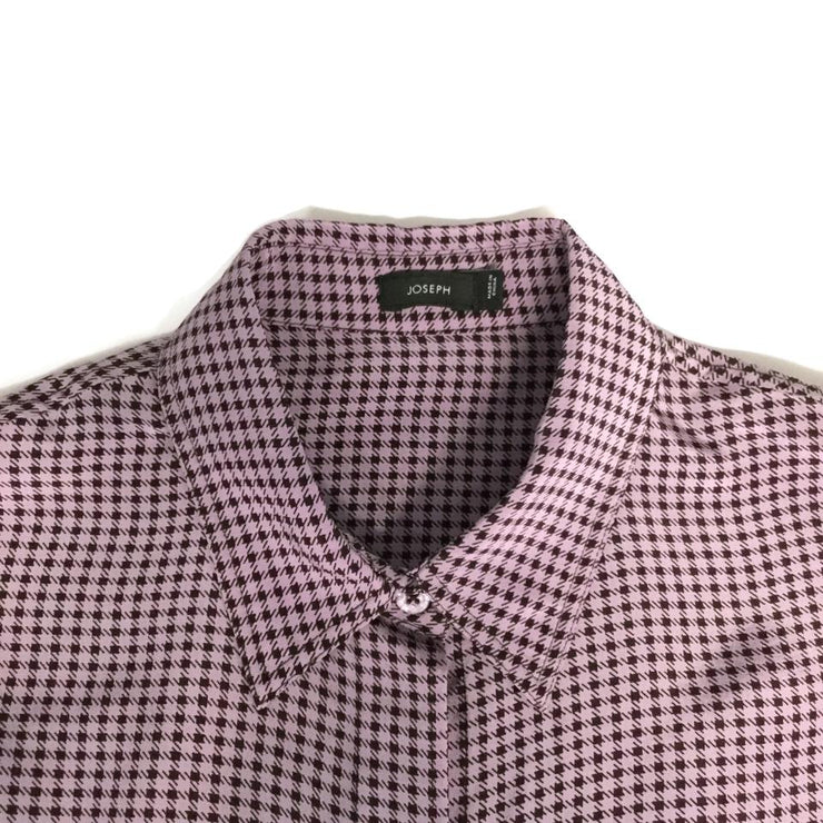 Joseph Purple Black Check Button-down Top