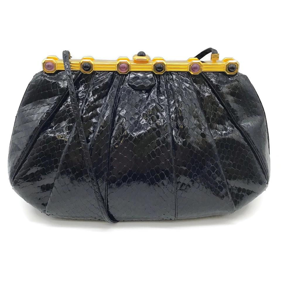 Judith Leiber Jeweled Black Snakeskin Leather Shoulder Bag