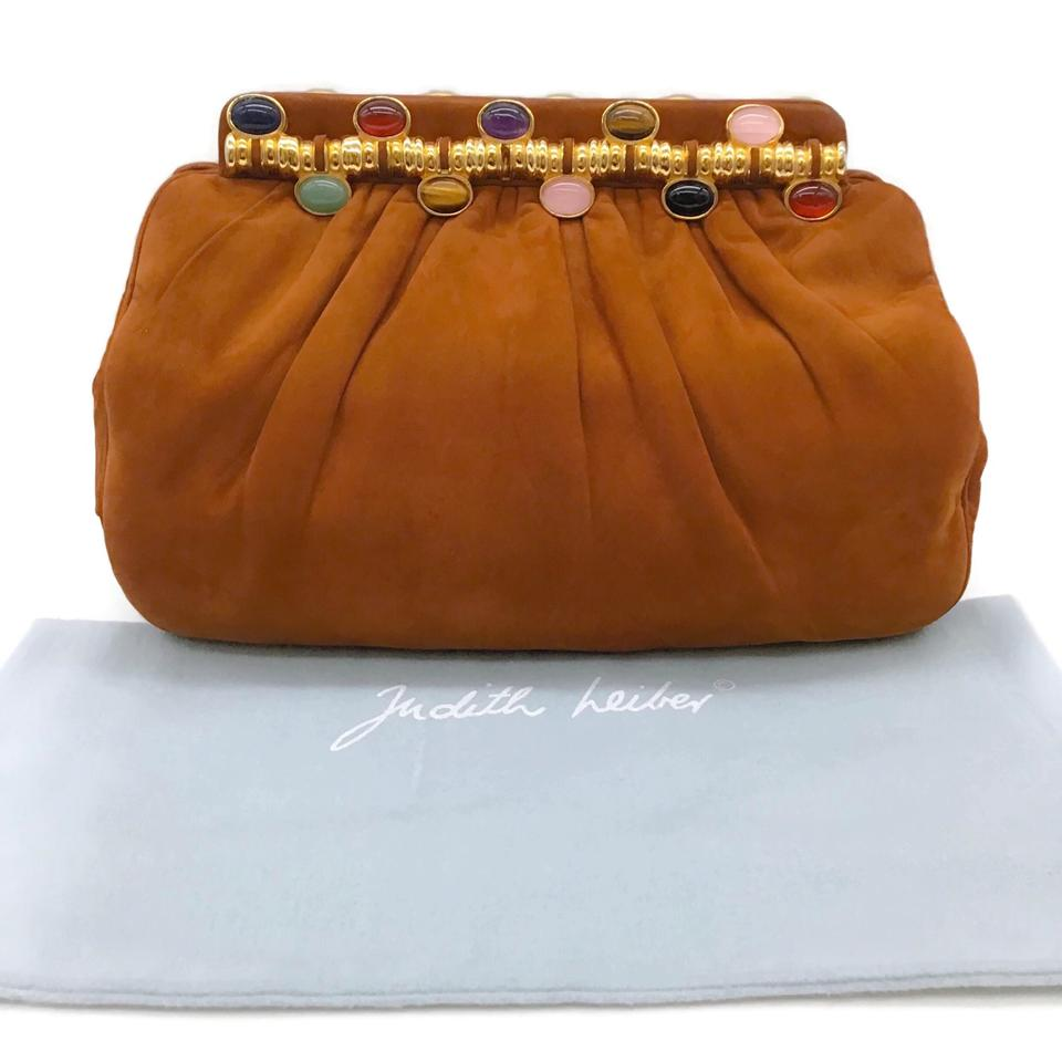 Judith Leiber Jeweled Cognac Suede Shoulder Bag