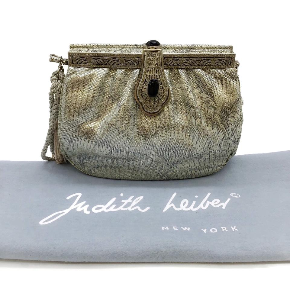 Judith Leiber Metallic Silver Leather Shoulder Bag