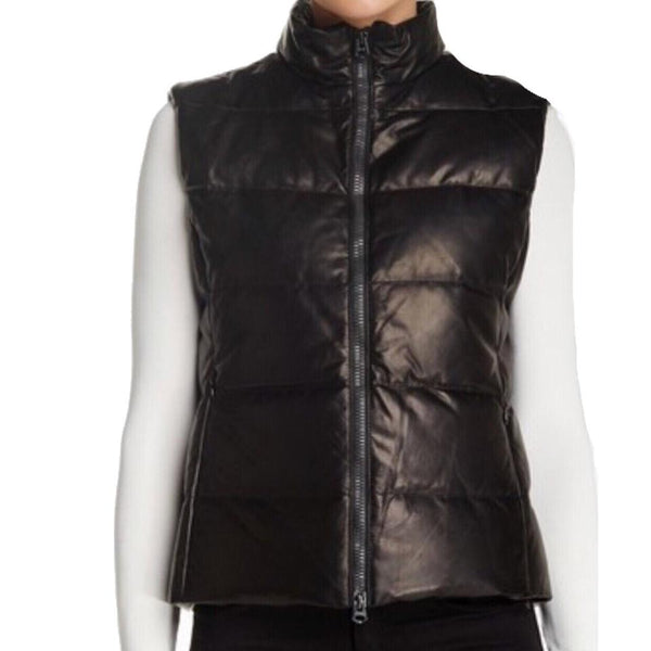 June Quilted Fur Lined Pocket Black Leather Vest