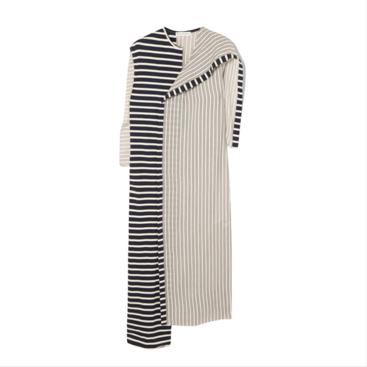 J.W.Anderson Asymmetric Striped Cotton Dress