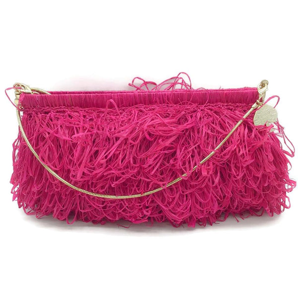 Kate Spade Curly Fuchsia Straw Clutch