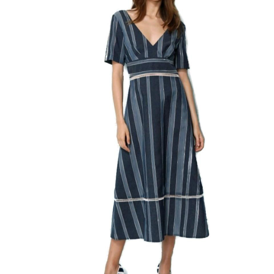 Kimora Lee Simmons Blue/White Striped Casual Dress