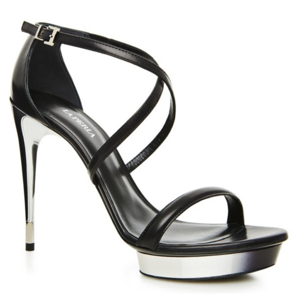 La Perla Black/Silver Degrade Platform Sandals