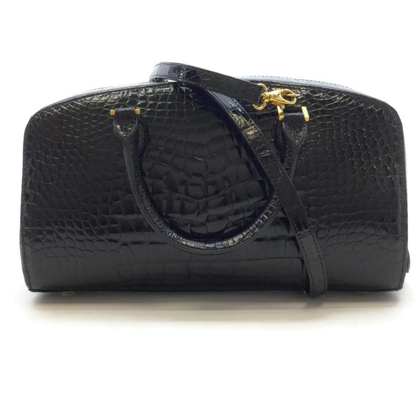 LANA MARKS Black Alligator Skin Leather Satchel