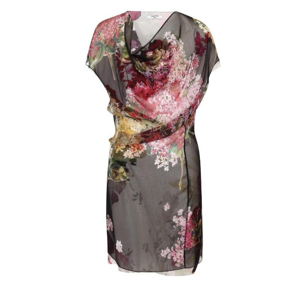 Lanvin Black / Floral Silk Dress