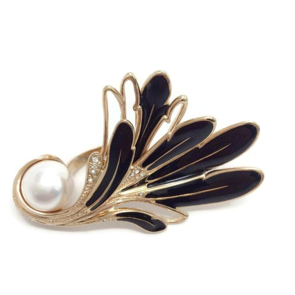 Lanvin Black / Gold Pearl Feather Ring