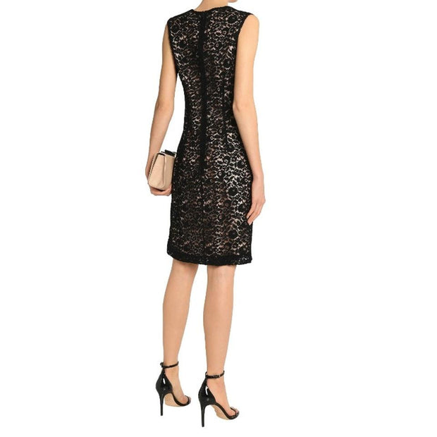 Lanvin Black / Nude Corded Lace Dress